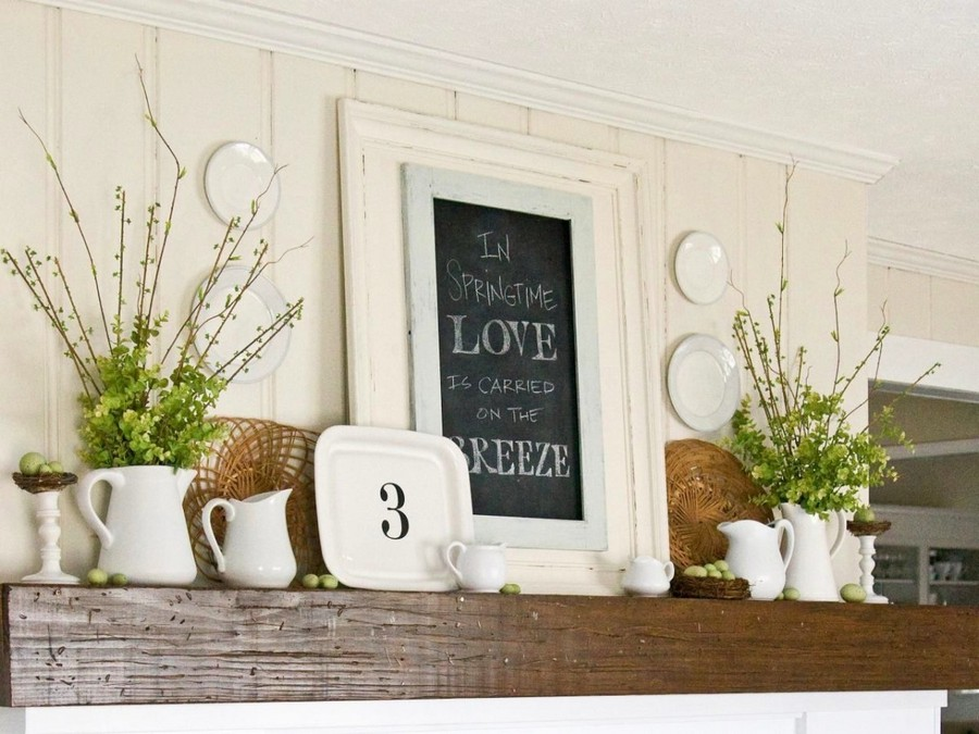 18-spring-home-decor-decoration-ideas-flowers-mantelpiece-fireplace-shelf-framed-saying