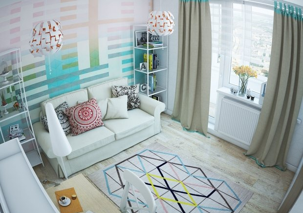 2-0-small-living-room-interior-design-light-laminate-floor-white-walls-yellow-turquoise-accents-IKEA-furniture-geometrical-wallpaper-shelving-units-sofa-carpet-work-area-desk-beige-curtains