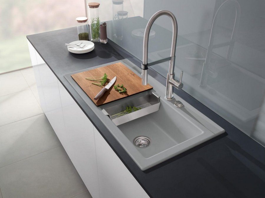 2-1-Villeroy-&-Boch-kitchen-sink-design-at-LivingKitchen-show-in-Cologne-Germany-2017-international-exhibition-gray-minimalistic-glossy-backsplash-smooth