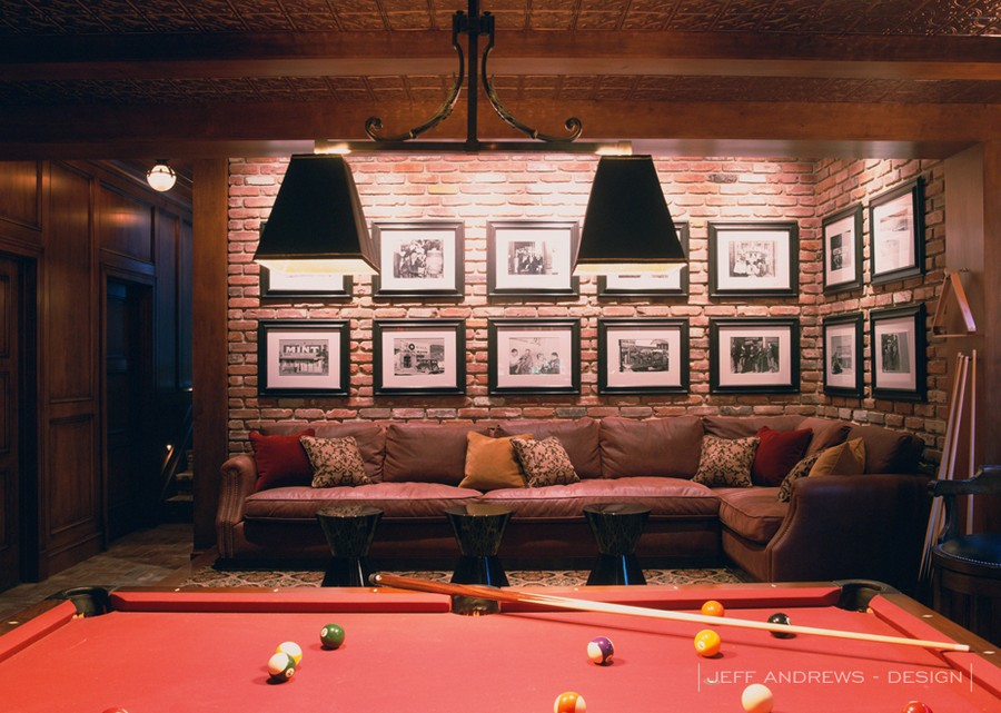 2-1-billiards-pool-room-interior-design-table-wooden-floor-carpet-rug-pendant-lamps-brick-wall-red-cloth-big-corner-sofa-photo-gallery