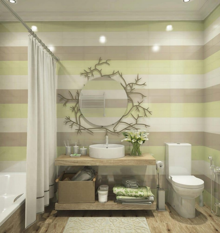 2-1-contemporary-style-bathroom-interior-design-neutral-colors-faux-wood-ceramic-granite-floor-tiles-round-Rocca-wash-basin-naturalistic-mirror-decor-tree-branch-multicolor-stripy-walls-white-beige-pistachio-green