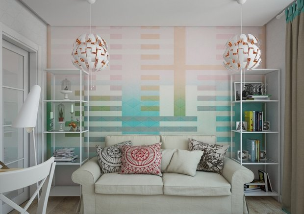 2-1-small-living-room-interior-design-light-laminate-floor-white-walls-yellow-turquoise-accents-IKEA-furniture-geometrical-wallpaper-shelving-units-sofa-carpet-work-area-desk-beige-curtains-pendant-lamps