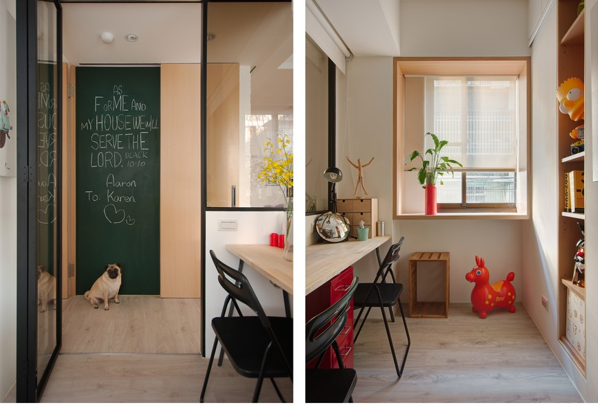 2-2-A-Lentil-Design-Taiwan-small-apartment-interior-tiny-study-work-area-interior-window-study-glass-wall-neutral-beige-parquet-floor-computer-desk-bright-accents-red-yellow-kid's-shelves-storage_cr