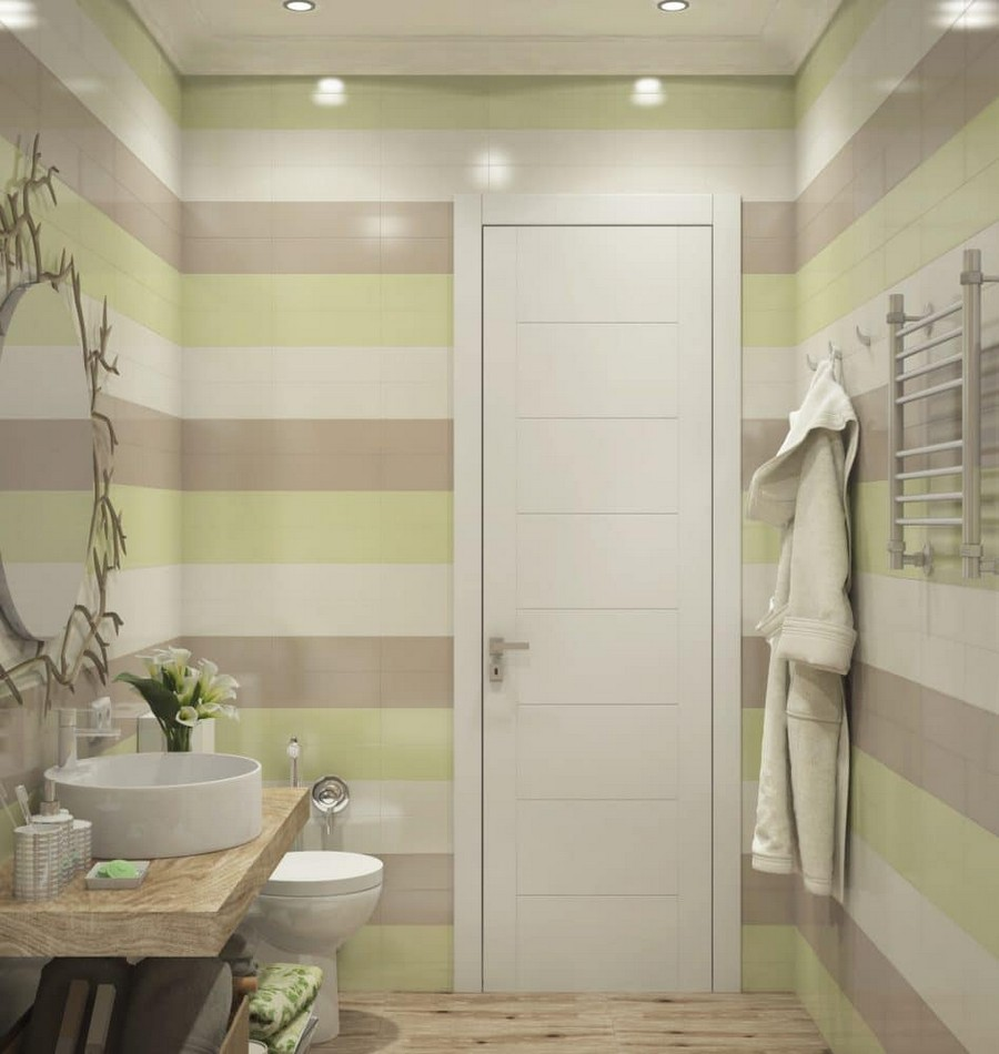 2-2-contemporary-style-bathroom-interior-design-neutral-colors-faux-wood-ceramic-granite-floor-tiles-round-Rocca-wash-basin-naturalistic-mirror-decor-tree-branch-multicolor-stripy-walls-white-beige-pistachio-green