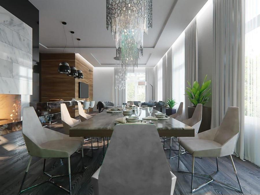 2-2-contemporary-style-open-concept-living-dining-room-kitchen-interior-design-white-walls-panoramic-windows-chandeliers-fireplace-marble-table-chairs-metal-base-white-set-wooden-wall-panels