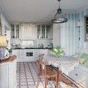 2-3-Provence-style-kitchen-interior-design-white-cabinets-geometrical-pattern-floor-tiles-dining-set-bentwood-chairs-bench-recessed-stripy-white-and-blue-wallpaper-glass-cabinets-track-lights-metal-pendant-lamp