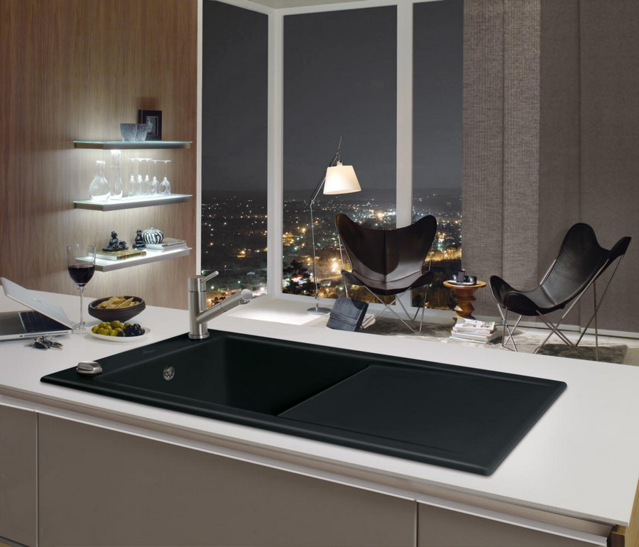 2-3-Villeroy-&-Boch-kitchen-set-design-at-LivingKitchen-show-in-Cologne-Germany-2017-international-exhibition-black-sink