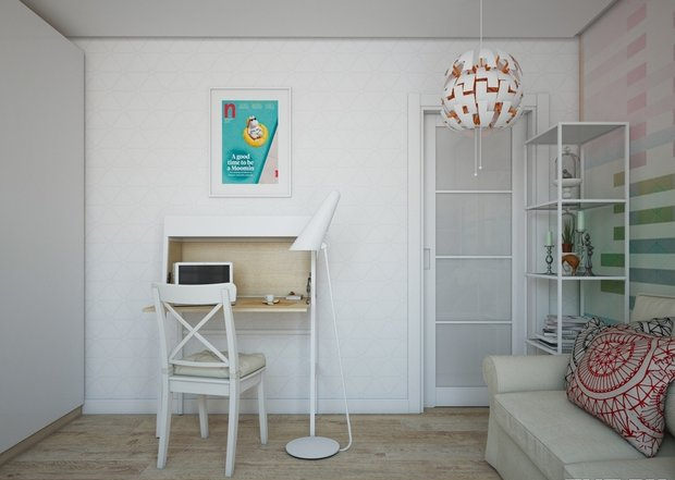 2-3-small-living-room-interior-design-light-laminate-floor-white-walls-yellow-turquoise-accents-IKEA-furniture-geometrical-wallpaper-shelving-unit-sofa-work-area-desk-poster-pendant-lamp