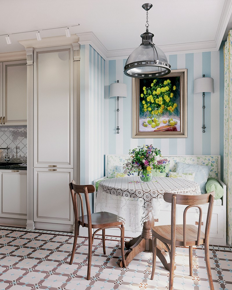 2 4 Provence style kitchen interior design white cabinets geometrical pattern floor tiles dining set bentwood chairs bench recesses stripy white and blue wallpaper lace tablecloth track lights metal pendant lamp