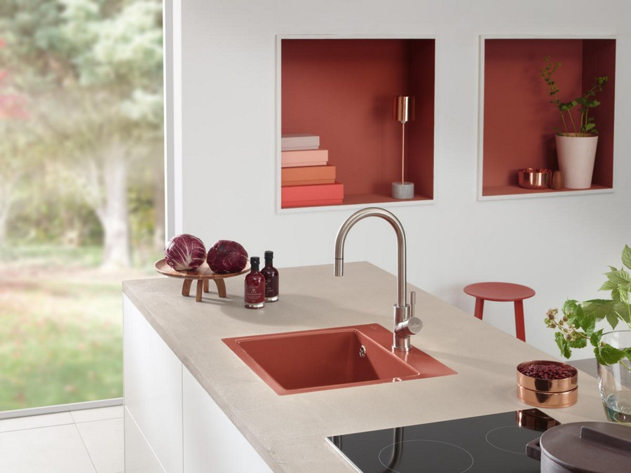 2-5-Villeroy-&-Boch-kitchen-set-design-at-LivingKitchen-show-in-Cologne-Germany-2017-international-exhibition-red-sink-white-countertop