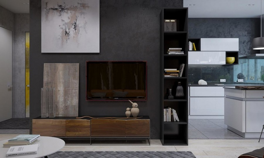 2-5-brutal-contemporary-style-living-room-lounge-open-concept-kitchen-interior-design-light-floor-gray-concrete-walls-minimalism-TV-stand-shelving-unit-white-kitchen-set-island