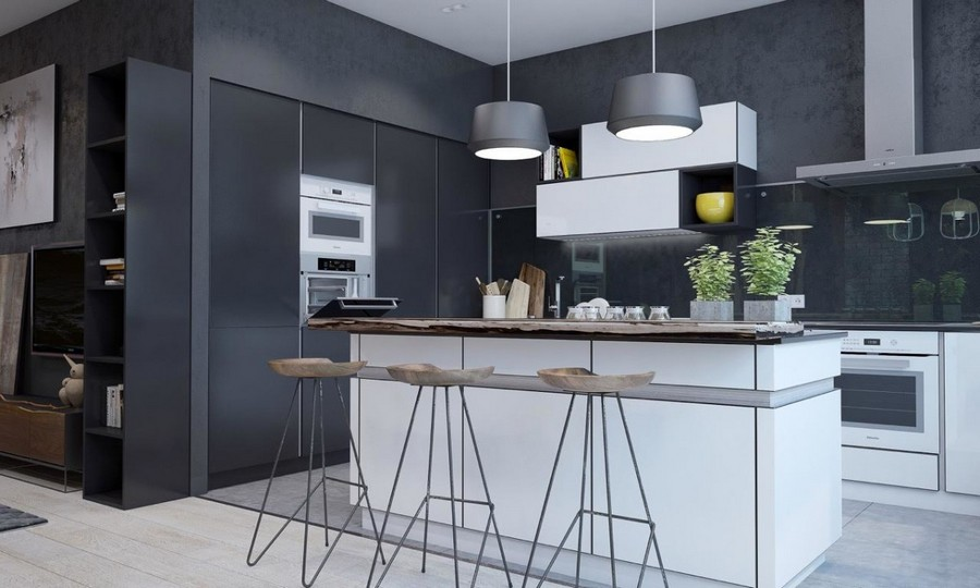 2-6-brutal-contemporary-style-open-concept-kitchen-interior-design-light-floor-gray-concrete-walls-minimalism-bar-stools-white-set-island-pendant-lamps-cooker-hood-built-in-appliances