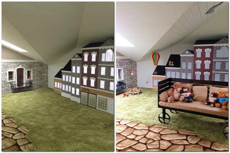 2-attic-floor-toddler-kids-room-playroom-game-room-interior-design-gray-walls-play-houses-paths-green-shaggy-carpet-bench-toys-sloped-ceiling