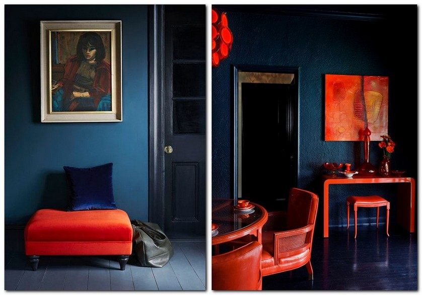 2-flame-red-color-by-Pantone-2017-in-interior-design-dark-blue-indigo-walls-furniture-ottoman-arm-chair-dressing-table-living-room