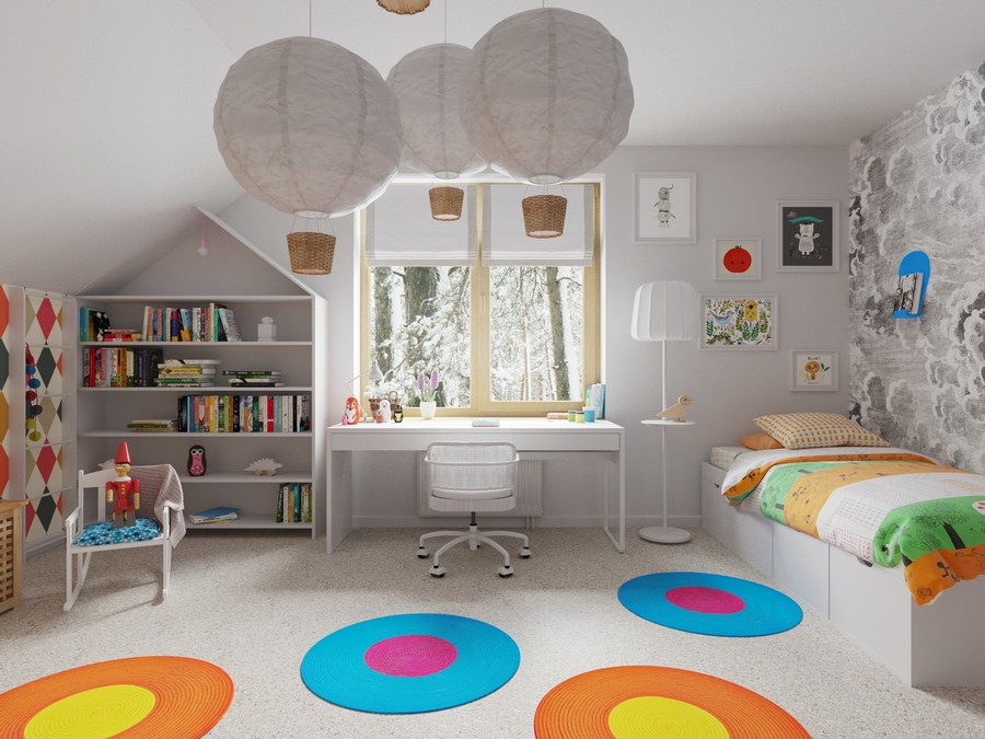 2-kids-children-toddler-room-interior-design-white-and-beige-contemporary-style-with-bright-accents-round-rugs-blue-yellow-orange-balloon-lamps-house-shaped-bookshelves-work-desk-floor-lamp-bed