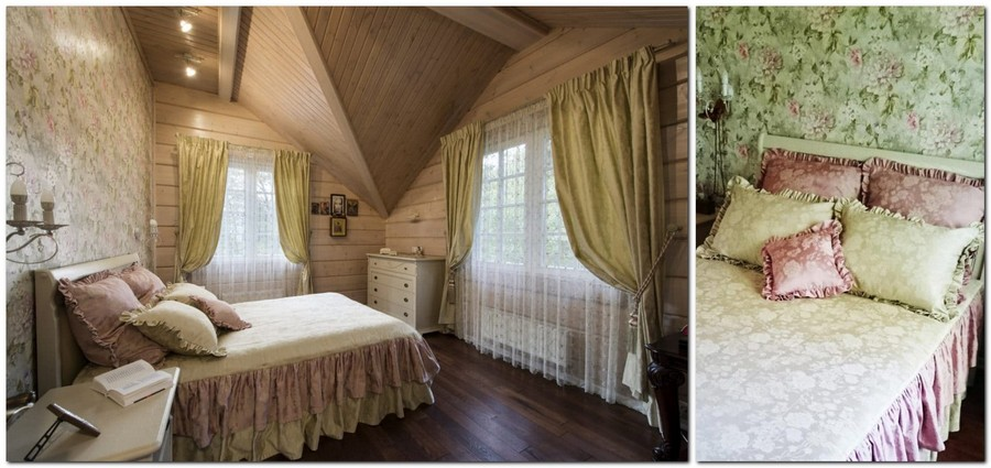 2-log-timber-wooden-house-bedroom-interior-design-walls-attic-sloped-ceiling-big-panoramic-windows-overdrapery-drapery-sheer-curtains-green-and-pink-floral-wallpaper-bedspread-cover-with-frills-ruffled-pillow-shams