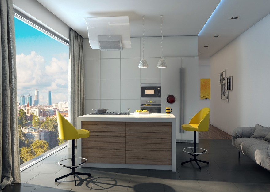 2-new-innovative-smart-home-technologies-2017-in-interior-design-contemporary-style-kitchen-panoramic-window-city-view-minimalist-set-island-yellow-bar-stools-built-in-appliances