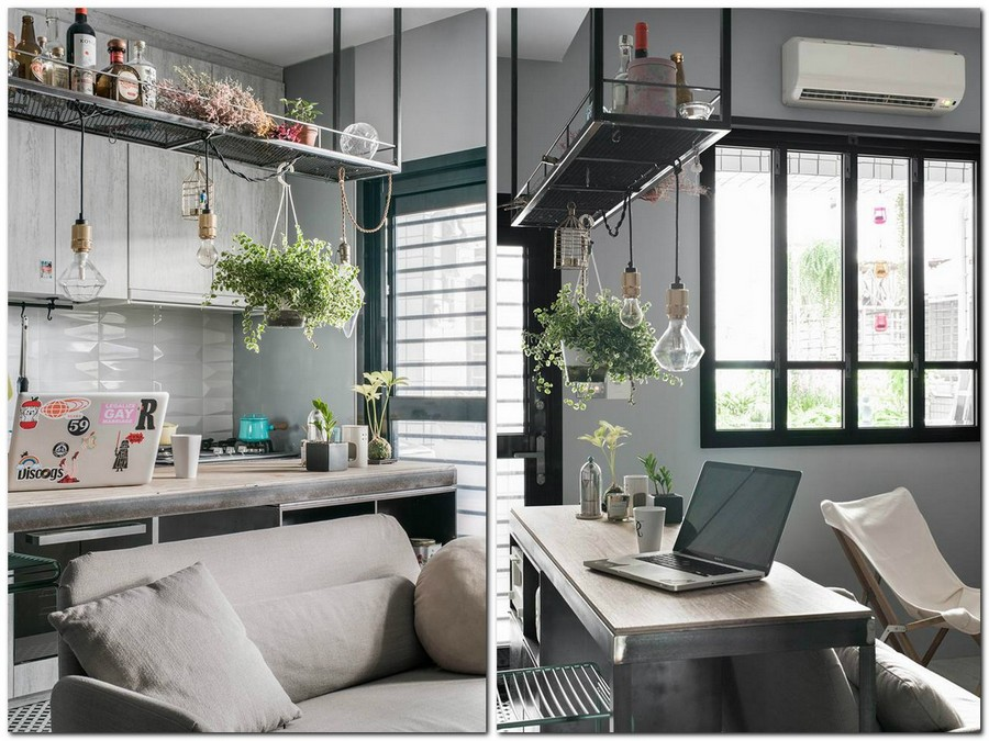 2-tiny-small-single-woman's-studio-apartment-Taiwan-gray-walls-floor-black-interior-design-accents-light-wood-kitchen-island-work-area-desk-laptop-sofa-kitchen-cabinets-pendant-lamps-exposed-wires-bulb