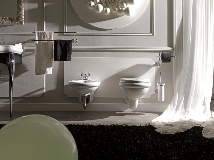 2-wall-mounted-hung-floating-toilet-bidet-in-bathroom-interior-design-neo-classical-style-gray-wall-plaster-moldings-shaggy-rug-white-curtains-black-accents