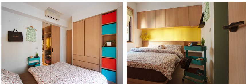 3-1-A-Lentil-Design-Taiwan-small-bedroom-interior-white-wall-neutral-beige-parquet-floor-bright-accents-red-blue-yellow-light-wood-closet-suspended-cabinets-above-bed-serving-trolley_cr