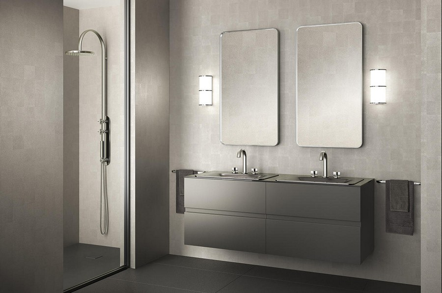 3-1-new-Baa-collection-2017-by-Roca-bathroom-design-by-Giorgio-Armani-luxurious-premium-all-total-gray-interior-suspended-double-wash-basin-cabinet-lamps-mirrors-tropical-shower-silver-towel-rail
