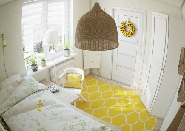 3-1-small-kid's-girl's-room-interior-design-light-laminate-floor-white-walls-yellow-carpet-accents-IKEA-furniture-loft-bed-work-desk-door-wreath-wardrobe-corner-drawing-unit