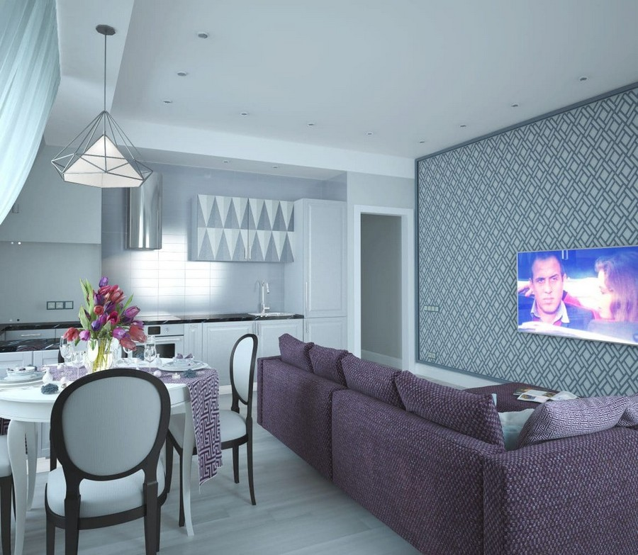 3-2-contemporary-style-open-concept-living-room-dining-table-kitchen-set-interior-design-in-neutral-colors-white-walls-gray-parquet-floor-purple-sofa-lounge-geometrical-pattern-upper-cabinets-TV-set-wallpaper-sloped