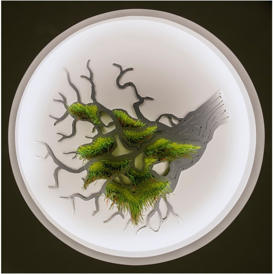 3-Sous-le-grand-arbre-racine-feuille-et-fleur-by-Elisabeth-Picard-CHSLD-Canada-tree-root-art-installation-ceiling-decor-gradient-ombre-effect-plastic-metal-aluminum-LED-lights-green-yellow-orange