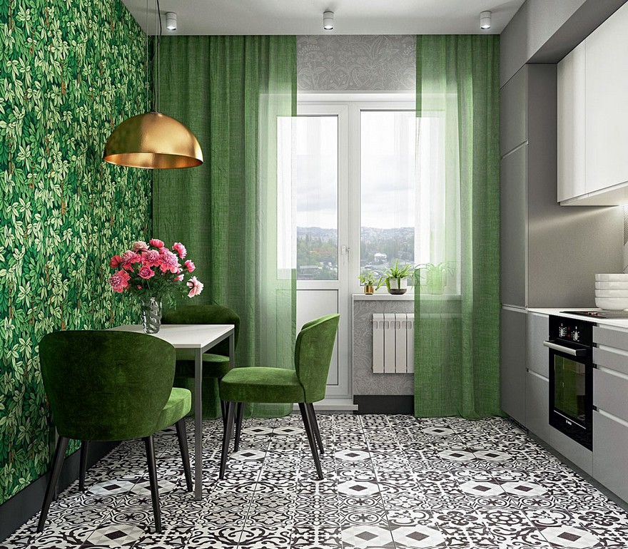 3-contemporary-style-kitchen-interior-design-straight-line-set-gray-cabinets-quartz-worktop-geometrical-floor-tiles-green-floral-wallpaper-sheer-curtains-velvet-dining-chairs-small-table-balcony