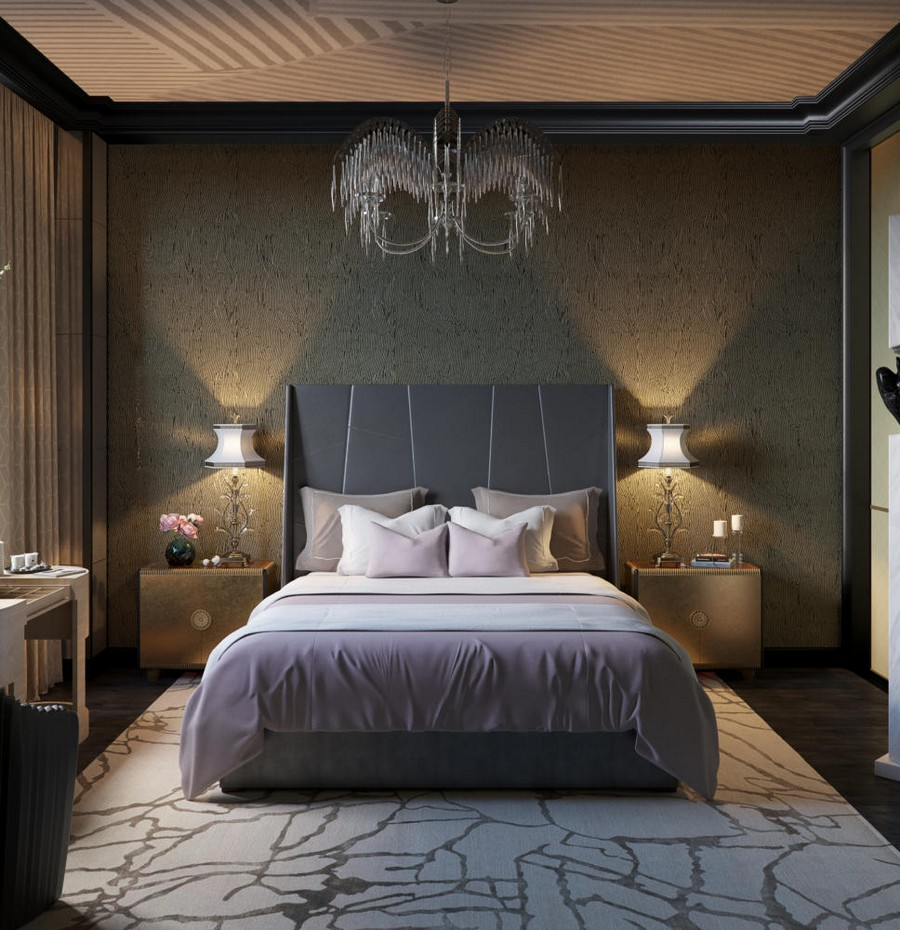 3-dark-black-and-gray-bedroom-interior-design-in-contemporary-style-art-deco-furniture-chandelier-bed-with-tall-upholstered-headboard-bedside-lamps-metal-base-organic-carpet-pattern
