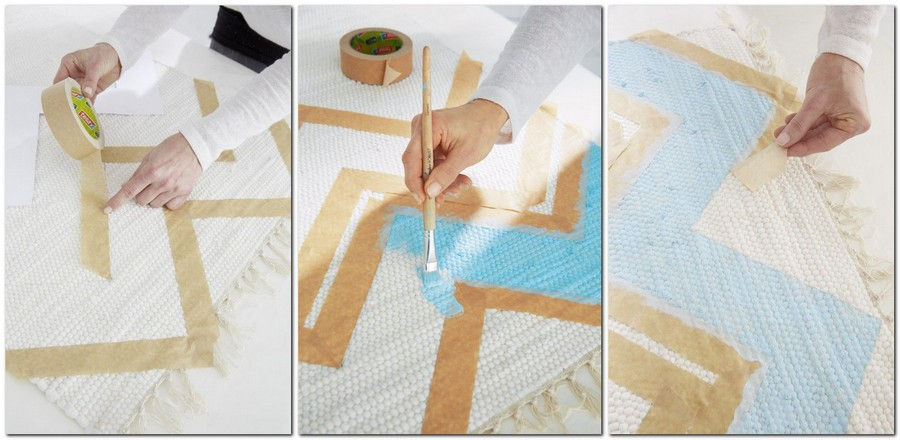 3-diy-handpainted-rug-with-zigzag-pattern-geometrical-blue-and-white