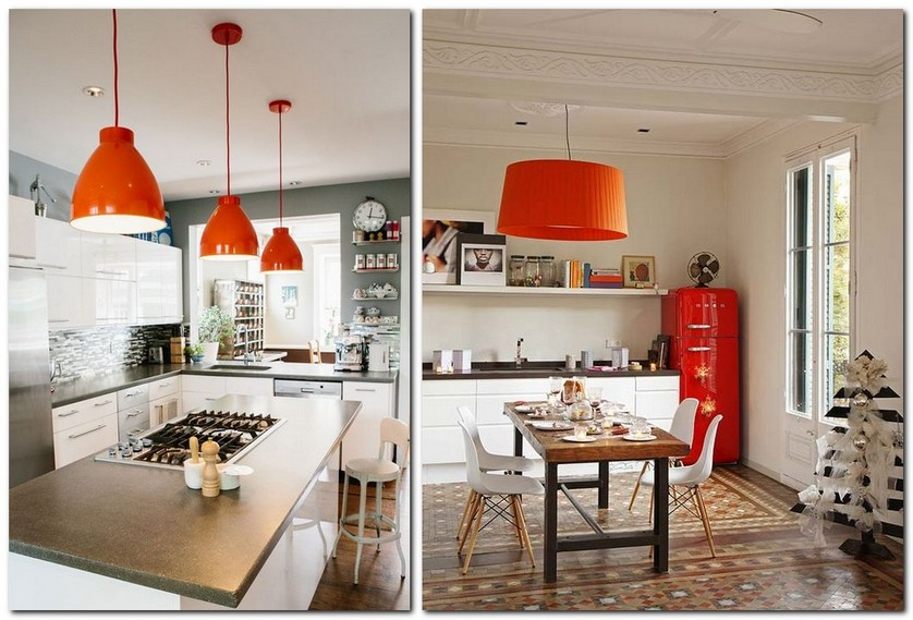 3-flame-red-color-by-Pantone-2017-in-interior-design-kitchen-pendant-lamps-island-retro-smeg-refrigerator