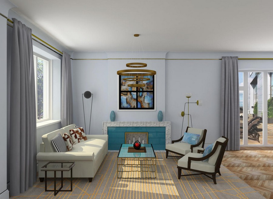 Light sunny moderate art d co apartment in blue shades for Room decor websites