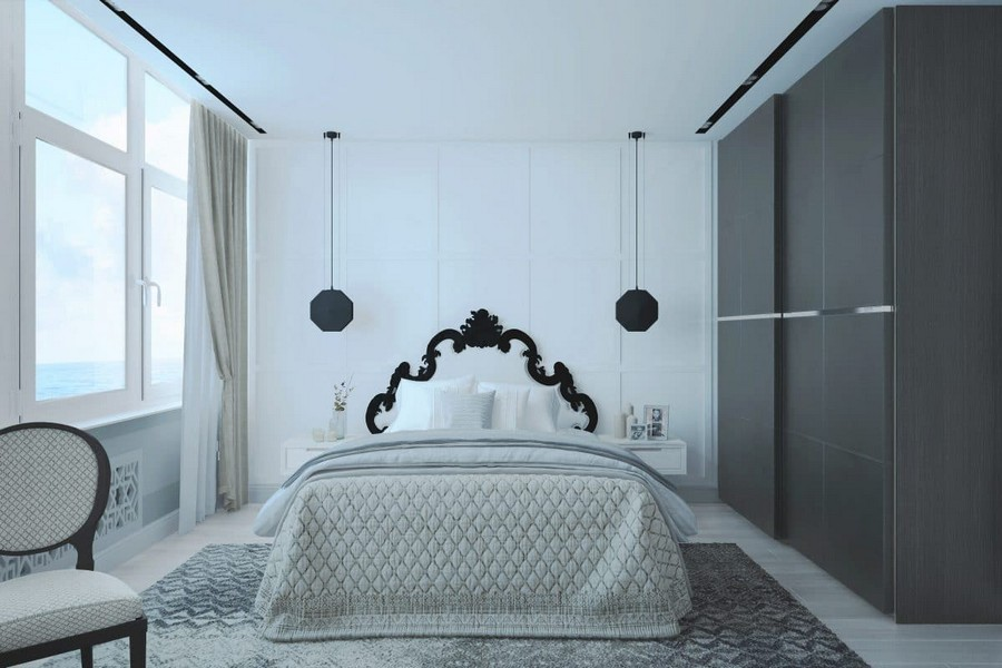 4-1-contemporary-style-bedroom-interior-design-in-neutral-colors-white-walls-gray-parquet-floor-dark-black-brown-wardrobe-pendant-bedside-lamps-tables-chair-headboard-graphic-carved-sea-view