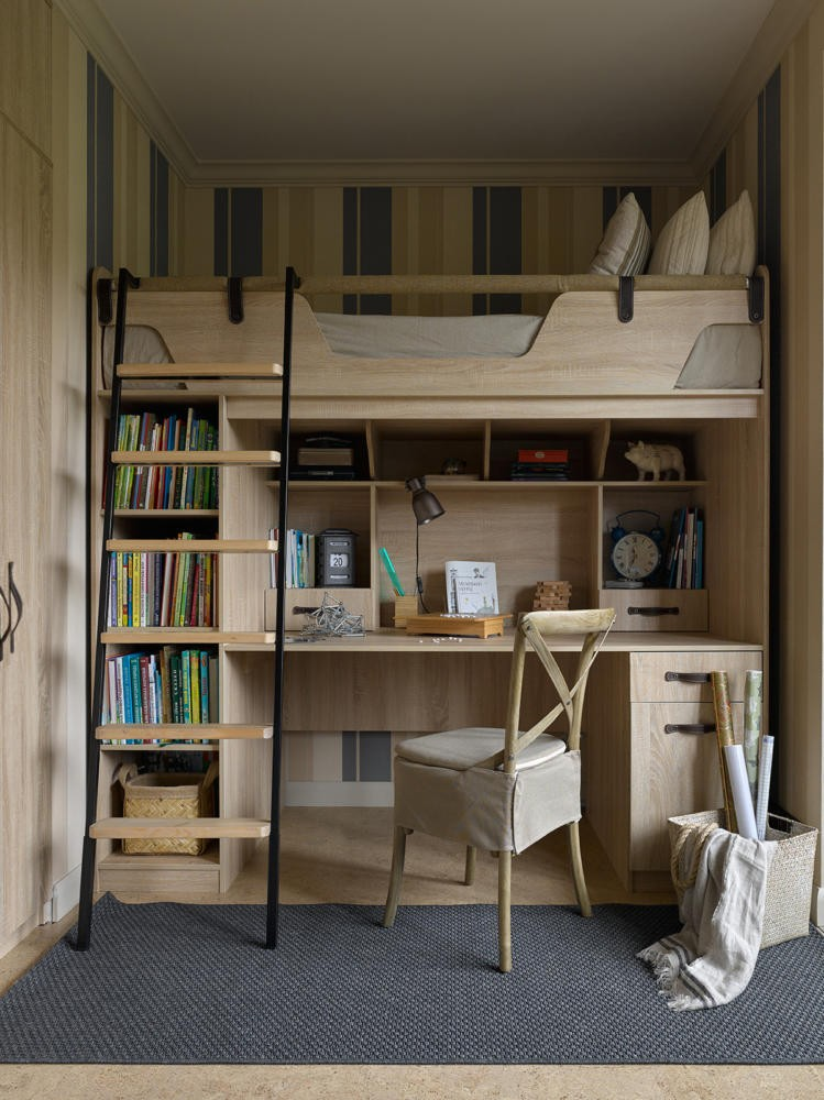 4-1-neo-classical-nautical-style-toddler-kid's-boy's-room-bedroom-interior-stripy-wallpaper-loft-bed-work-area-desk-underneath-storage-light-wood-dark-fittings-ladder-blue-rug-beige
