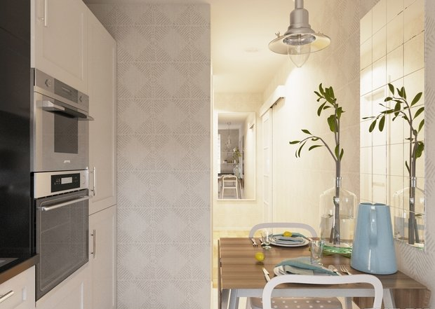 4-2-small-kitchen-dining-room-interior-design-light-beige-walls-set-cabinets-black-worktop-backsplash-small-table-chairs-mirror-built-in-oven-microwave-refrigerator-dishwashing-machine