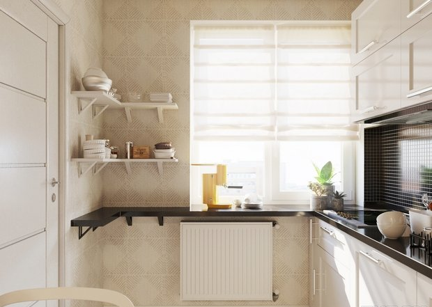 4-3-small-kitchen-interior-design-light-floor-beige-walls-set-cabinets-black-worktop-backsplash-window-radiator-roman-blinds