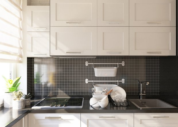4-4-small-kitchen-interior-design-beige-set-cabinets-black-worktop-backsplash-window-roman-blinds
