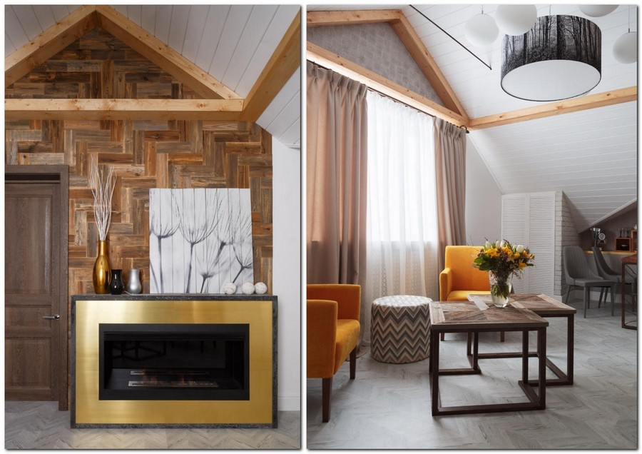 4-contemporary-style-attic-interior-metal-and-concrete-bio-fireplace-sloped-ceiling-white-walls-wooden-wall-decor-yellow-arm-chairs-living-room-coffee-table-naturalistic-corkwood-floor-faux-beams-beige-curtains