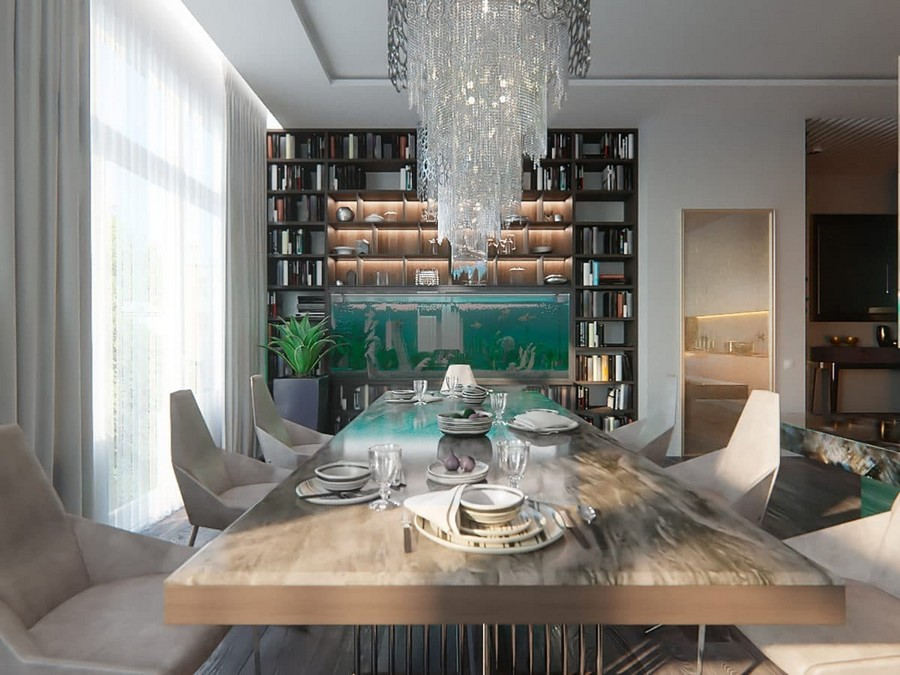 4-contemporary-style-open-concept-living-dining-room-kitchen-interior-design-white-walls-panoramic-windows-home-library-chandeliers-fireplace-marble-table-chairs-aquarium