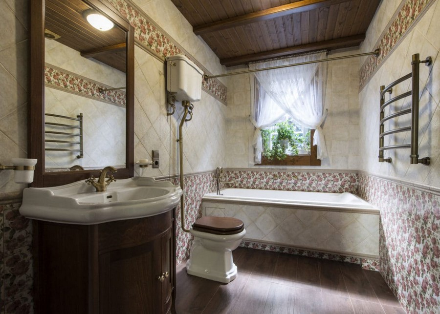 5-1-bathroom-interior-beige-brown-pink-floral-wall-tiles-retro-toilet-bowl-bathtub-wash-basin-cabinet-wooden-ceiling-beams-crisscross-sheer-curtains
