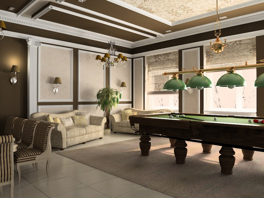 5-1-billiards-pool-room-interior-design-table-wooden-floor-carpet-rug-pendant-lamps-gray-and-green-contemporary-style