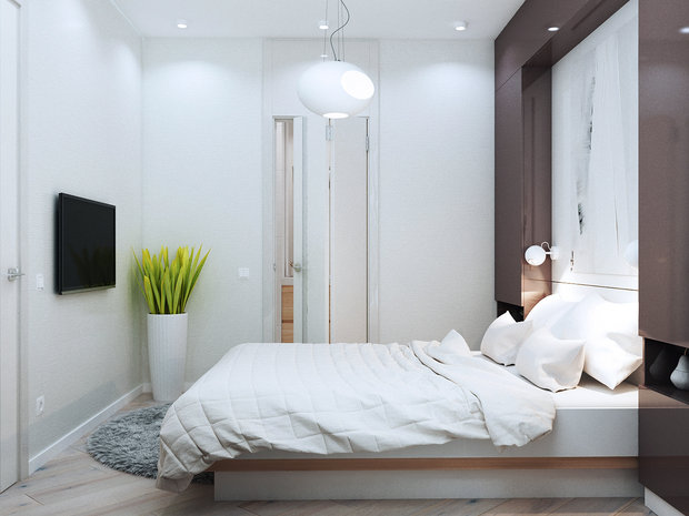 5-1-contemporary-style-interior-design-white-walls-brown-gray-neutral-colors-bedroom-storage-around-bed-cabinetry-TV-set-shaggy-carpet-potted-plant