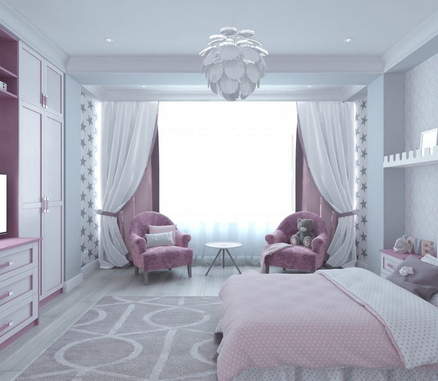 5-1-contemporary-style-kid's-girl's-room-bedroom-interior-design-in-neutral-colors-white-walls-gray-parquet-floor-star-wallpaper-purple-pink-velvet-accents-arm-chairs-drapery-pendant-lamp-carpet-teddy-bear
