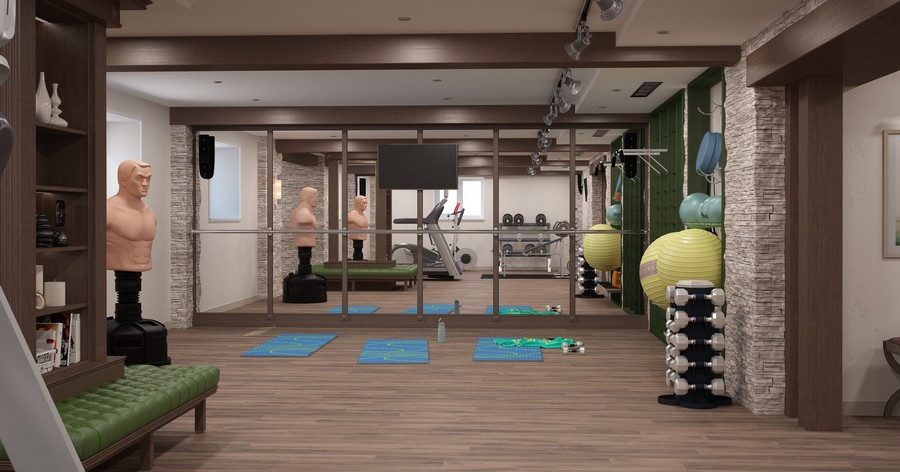 5-1-home-gym-interior-design-light-neutral-colors-windows-full-length-mirror-fitness-exercise-equipment-beige-floor-green-blue-accents