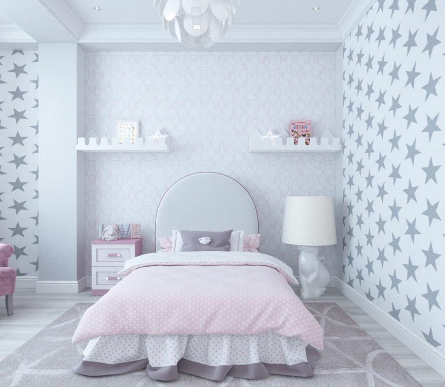 5-2-contemporary-style-kid's-girl's-room-bedroom-interior-design-in-neutral-colors-white-walls-gray-parquet-floor-star-wallpaper-purple-pink-velvet-accents-pendant-lamp-carpet-floor-lamp-wall-recess-shelves