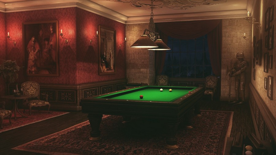 5-4-billiards-pool-room-interior-design-table-wooden-floor-carpet-rug-pendant-lamps-red-walls-green-cloth-twilight