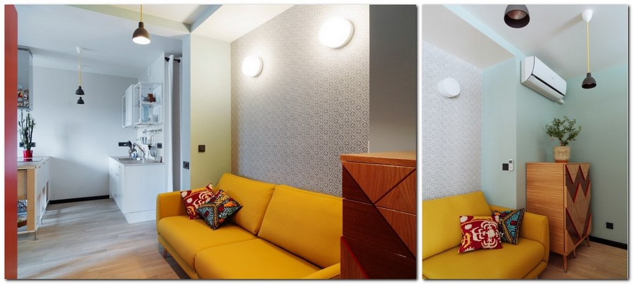 5-bachelor's-interior-design-open-concept-room-light-blue-walls-yellow-sofa-BoConcept-chest-of-drawers-geometrical-curved-pattern-wall-lamps
