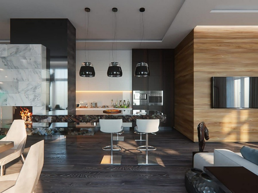 5-contemporary-style-open-concept-living-dining-room-minimalist-black-and white-kitchen-interior-design-push-to-open-cabinets-pendant-lamps-marble-fireplace-bar-stools-wooden-wall