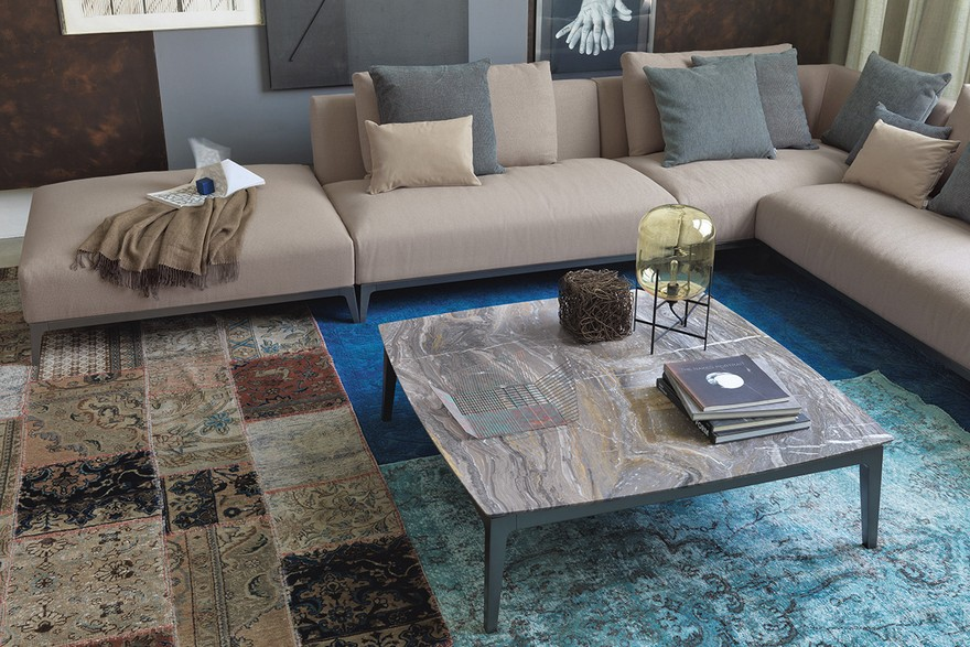 5-eclectic-style-living-room-interior-design-patchwork-vintage-rug-carpet-multicolor-marble-coffee-table-top-modular-beige-sofa-gray-blue-accents-throw-pillows